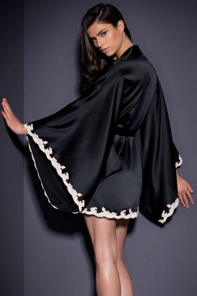 d88a1b0051 Sexy Bathrobe Women Silky Flare Sleeve Lingerie Dress Lace Trim Satin  Sleepwear Belted Chemise Kimono Sleepwear Babydoll Black