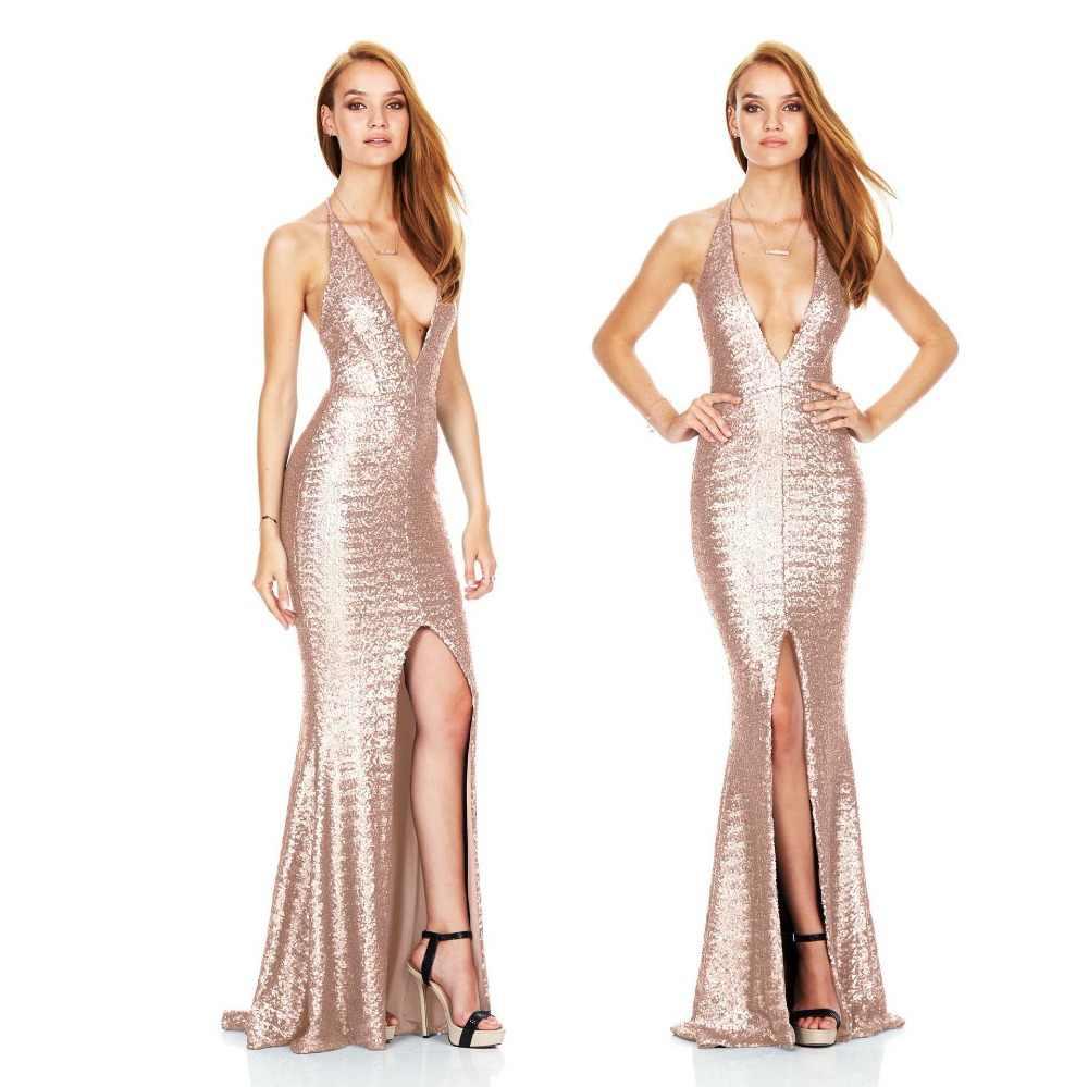 2019 novo vestido de noite divide tiras sem encosto sexy boate lantejoulas lantejoulas profundo Decote Em V vestido de noite longo