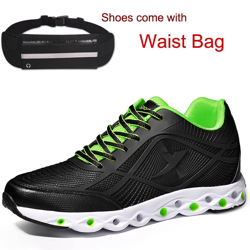 2018 Newest Height Increase Shoes Sneakers Increased High 6cm for Men Shoes Come with Waist Bag