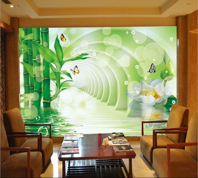 Buy chinese bamboo flowers large 3d mural for 3d dining room wall art