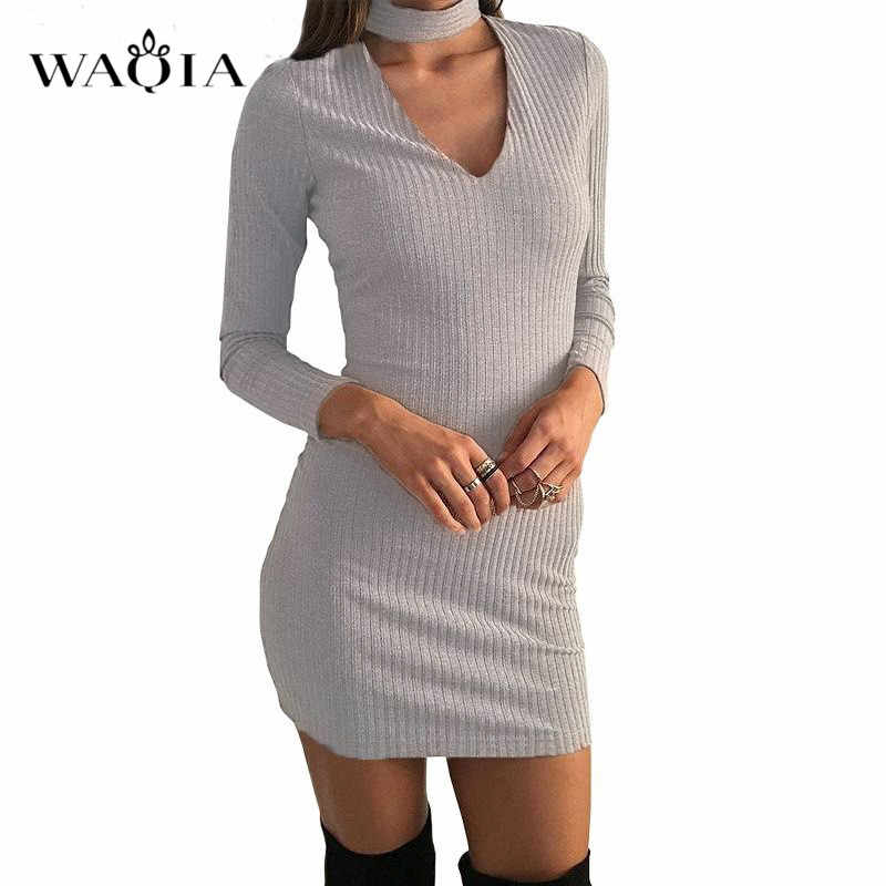 e877942f25f2 ... WAQIA Autumn Women Knitting Dress 2018 Long Sleeve Sexy Short Pencil  Knitted Dress Slim Bodycon Party ...