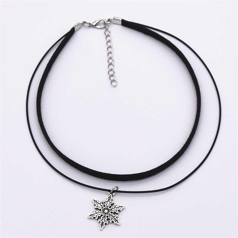 Moda couro de veludo preto vintage retro colares pingente maxi instrução dupla camada gargantilhas colar para mulher 2019 jóias