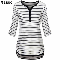 Women V Neck 3 4 Roll Up Sleeve Casual Striped Tunic Shirts High Low Hem Slim