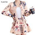2 Pcs Sets Jackets + Skirts with Print for Women's Suits Elegant Autumn Ladies Sets Long Sleeve Coats + Saias Pocket Mini Skirt
