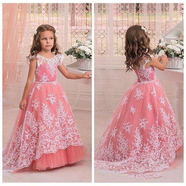 7a77c09d8 Scoop Neck Watermelon A Line Flower Girls Dresses Floor Length White ...