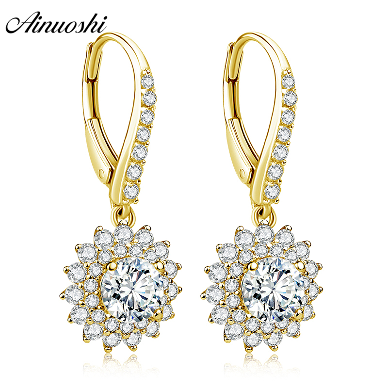 AINUOSHI 10K Solid Yellow Gold Drop Earring Women Jewelry 1.2ct Round Cut SONA Diamond Click Back Earring Double Halo Earring