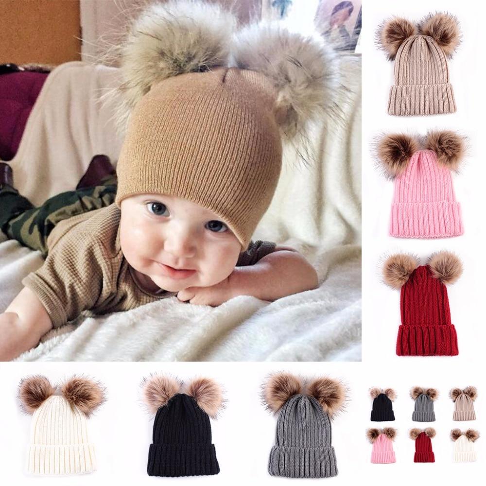 Baby Toddler Girls Boys Warm Hat Winter Beanie Double Ball Earflap Knitted Cap Fashionable novel fuzzy headdress cute chapeau