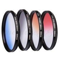 Zomei 52mm Graduated Gradual GC Grey Blue Orange Red Filter Kit for Canon Nikon Free shipping