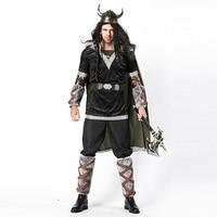 Adult Men Halloween Viking Warrior Costumes Fancy Barbarian Medieval Cosplay Clothing Helmet Set For Men Cow Devil Costume