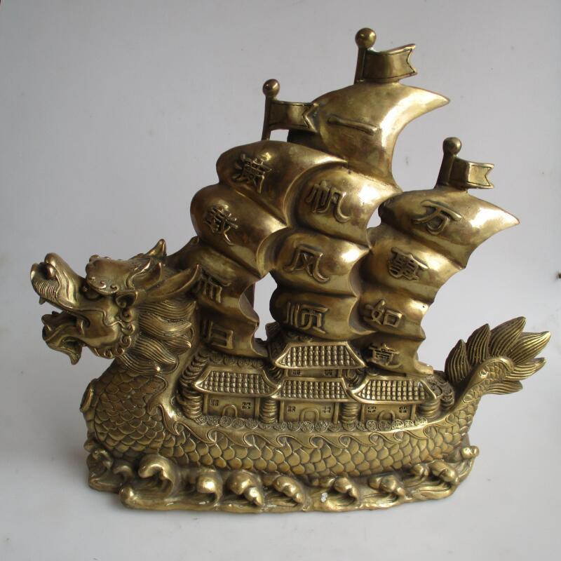 Longue 15 pouces/38 CM décor à la maison Feng Shui grande statue de bateau Dragon en laiton chinois/décoration en métal artisanat Sculptures
