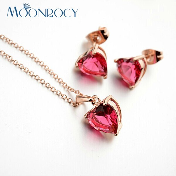 MOONROCY Free Shipping Zirconia Heart Necklace and Earrings rose Gold Color Red Crystal Jewelry Set wholesale for Women Gift