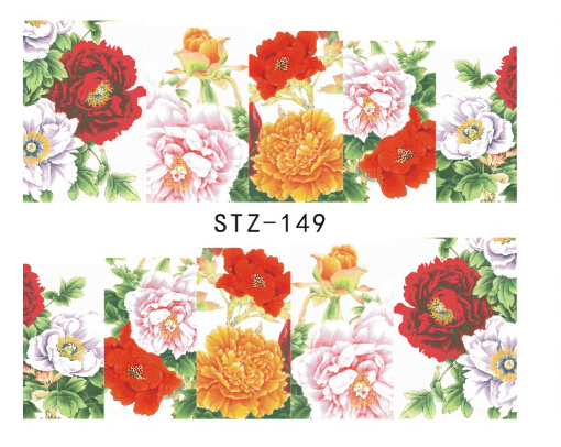 1pc New Elegant Flowers Designs Full Tips Nail Art Decorations Accessory Of Nail Art Water Sticker Decals Stz 149