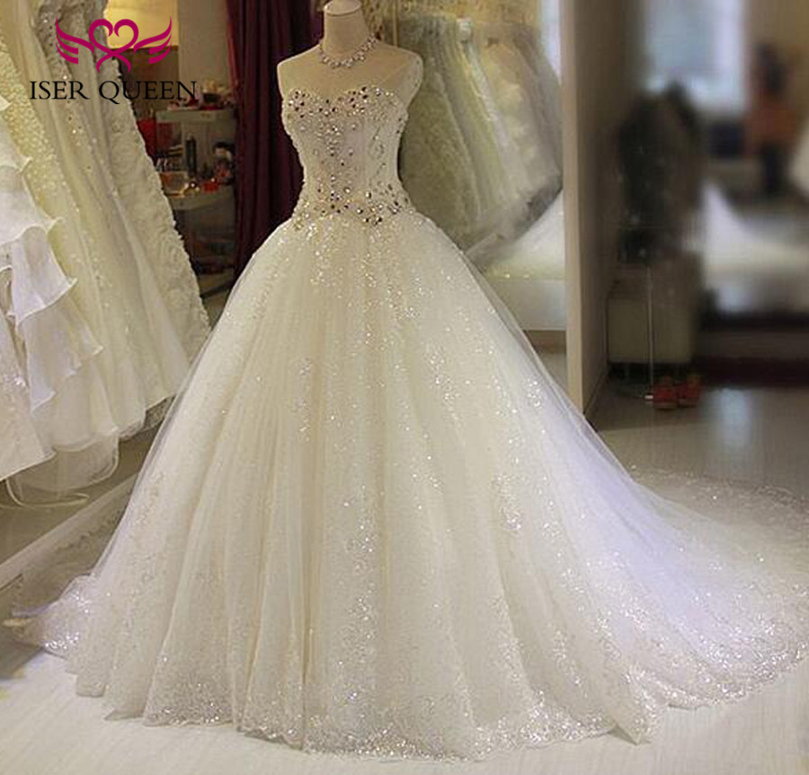 Neckline Ball Gown Bright Lace Tulle Arab Luxury Crystal Wedding Dress 2019 New Off Shoulder Sweetheart Wedding Dresses WX0135