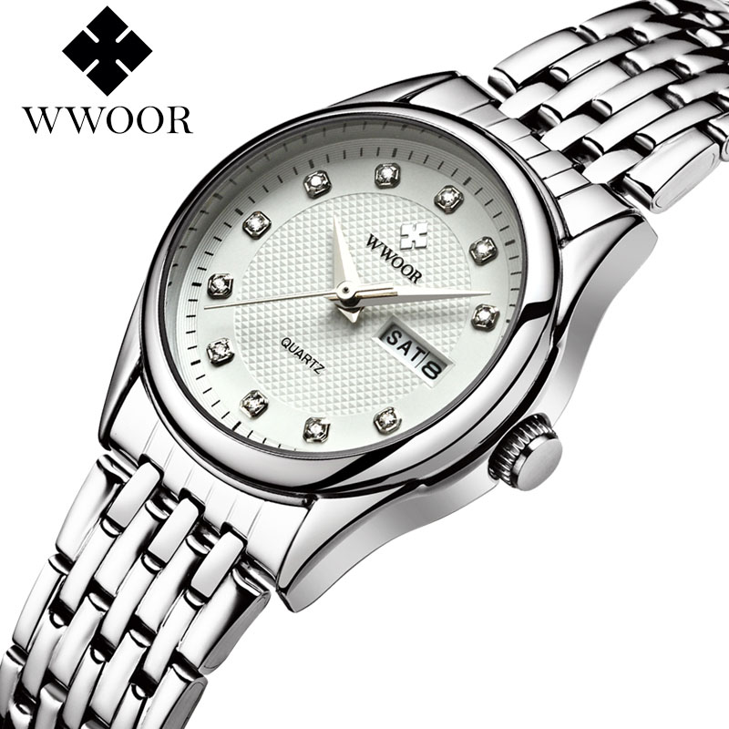 купить Women Watches New Brand Date Day Clock Female Stainless Steel WWOOR Watch Ladies Fashion Casual Quartz Watch Relogio Feminino по цене 976.83 рублей