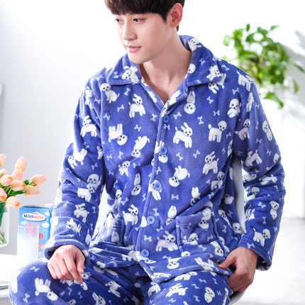 Conjuntos de Pijama dos homens Moda Inverno Homens Cardigan de Manga Longa Flanela Pijamas Ternos Para O Sexo Masculino Sleepwear Nightwear Loungewear L-3XL