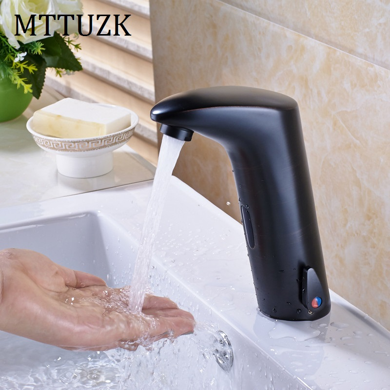 MTTUZK Oil Rubbed Bronze Bathroom Sensor Faucet Deck Mounted Automatic Water Saving Basin Mixer Tap DC6V Torneira Free Shipping free shipping new discount countertop bathroom automatic sensor faucet for hotel home water saving tap zr6130