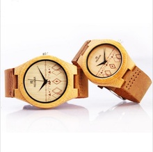 2016 new popular women/men lover Bamboo Wooden watch natural Wooden quartz Watch Real Leather Strap fashion casual wristwatch