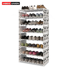 ماجيك الاتحاد موضة 9 طبقة متعددة الأغراض رف الأحذية قماش متعدد الاستخدامات الحديد حذاء معدني خزانة رف كتب لعبة تخزين الرف