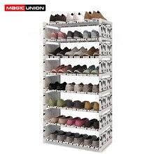 Magic Union Fashion 9 Layer Multi purpose Shoe Rack Non woven Cloth Iron Metal Shoe Storage Cabinet Book Shelf Toy Storage Shelf