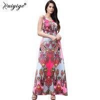 Ruiyige 2017 Summer Women Beach Long Dress Strapless Floral Print Maxi Dress Backless Bohemian Femme Robe