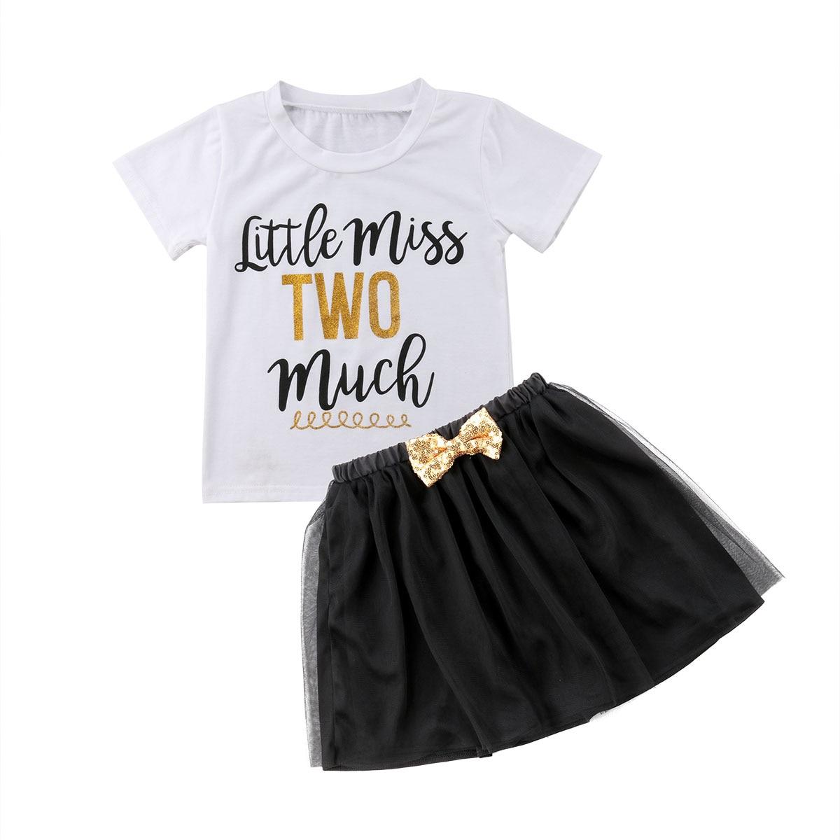 Toddle Kids Girls Summer Outfits T-shirt Tops+Tutu Skirt Dress Clothes Sundress