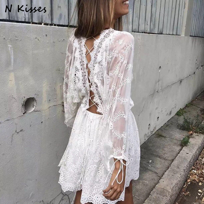 2018 Spring Long Sleeve White Embroidery Lace Mini Dress