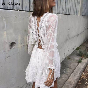 53bae8c9c495 Naughtykisses 2018 Long Sleeve White Lace Short Women Dress