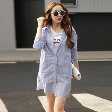 2017 New Spring Women Shirts Full Sleeve Striped In Long Small Cotton Base Blouse Shirt Light Dark Blue 233