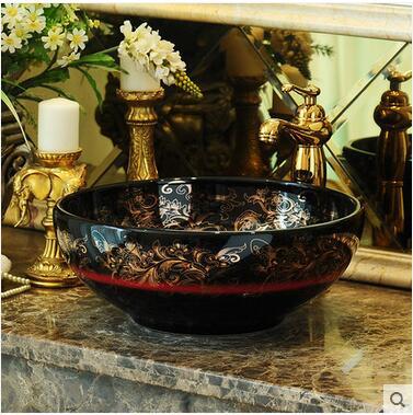 Jingdezhen ceramic stage basin art basin bowl European archaize toilet lavatory sink to restore ancient ways in Bathroom Accessories Sets from Home Garden