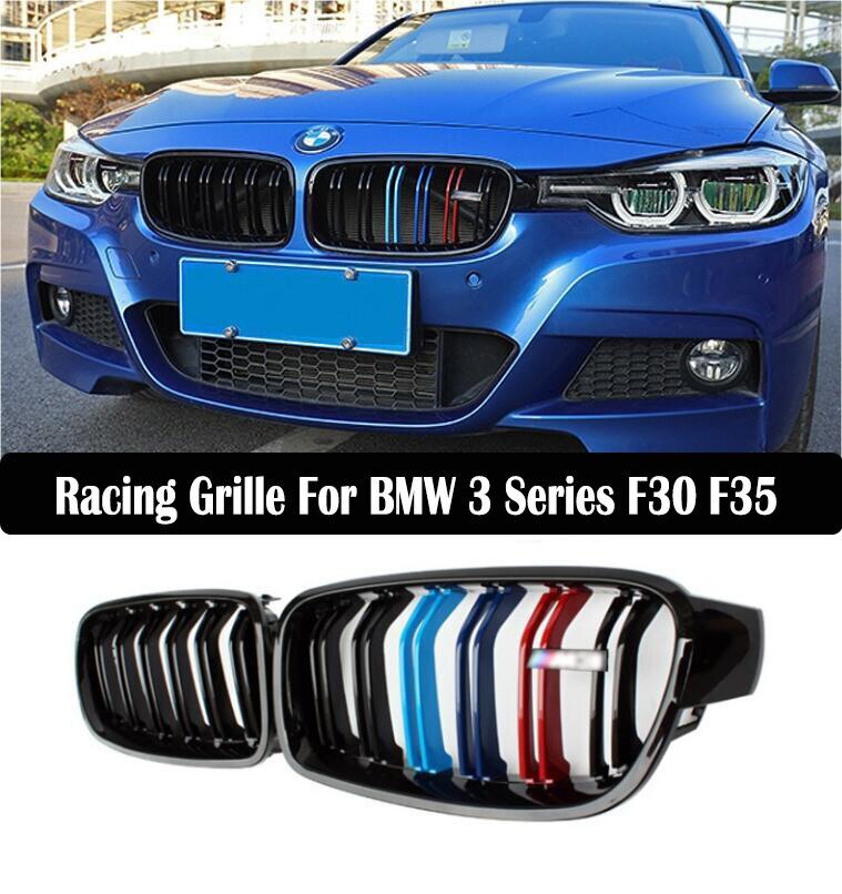 Grille de course de voiture pour BMW série 3 F30 F35 2013-2018 calandre maille pare-choc capot avant modifier DRL