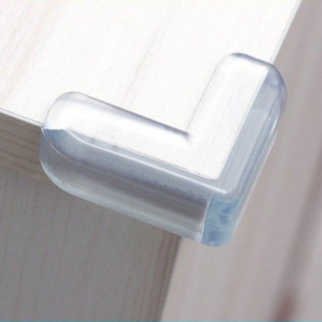 4 unids/set seguridad del bebé en forma de L Protector transparente cubierta protectores de esquina de mesa de protección de los niños muebles borde de la esquina guardia