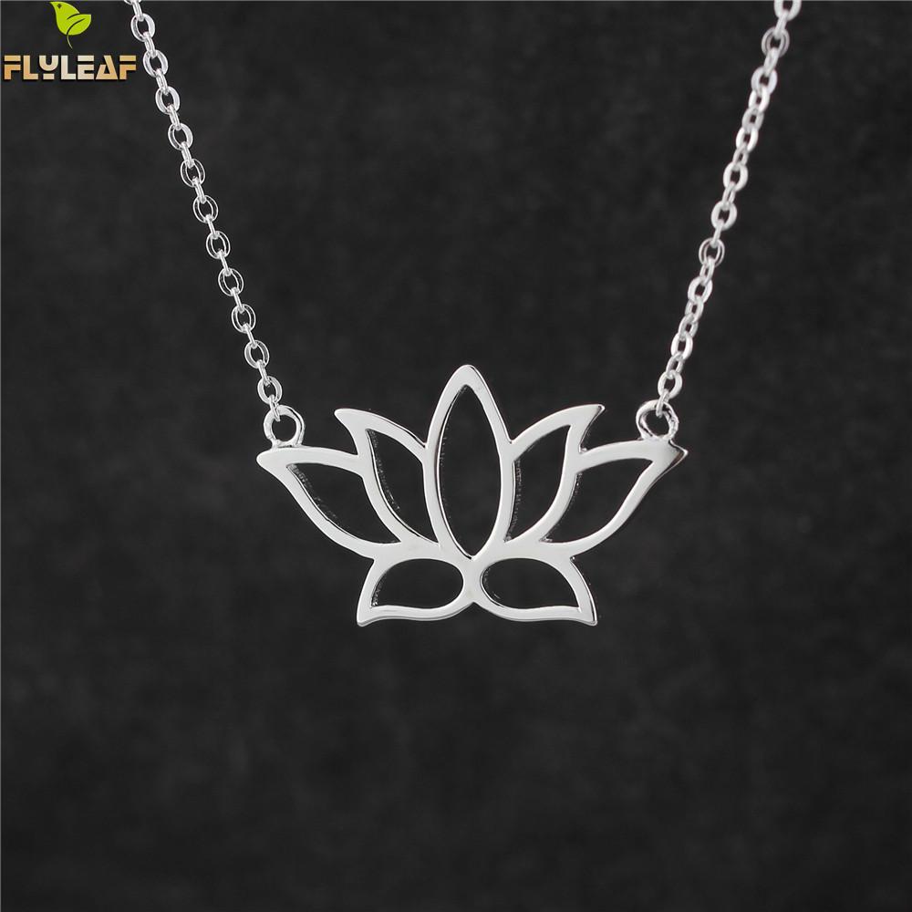 Flyleaf 925 Sterling Silber Buddhistischen Elemente Lotus Blume Halsketten & Anhänger Für Frauen Elegante Dame Sterling-silber-schmuck