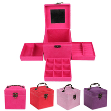 New Fashion Vintage Style Three-tier Jewelry Box Multideck Storage Cases Small Box 4 Colors M68