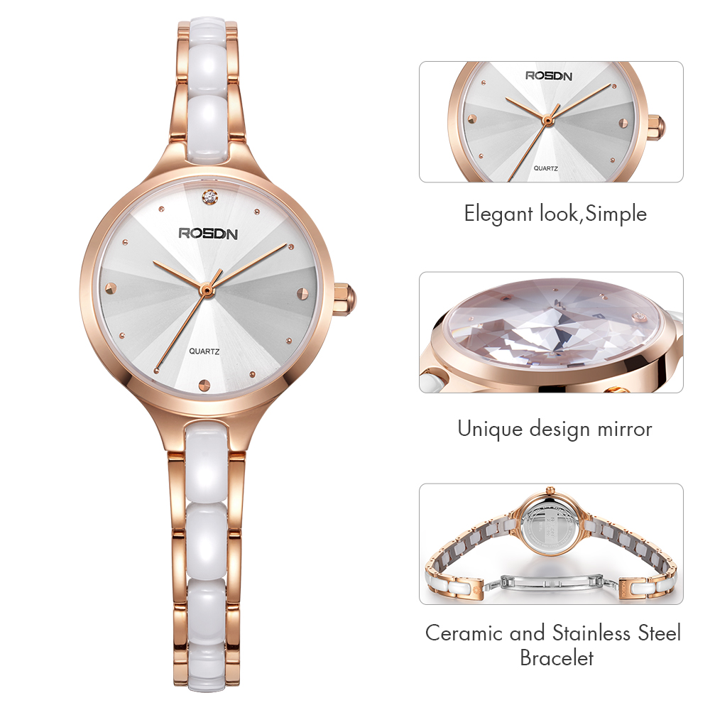 ROSDN helt ny mode lyx Elegant kvinna klockor enkel rosegold casual - Damklockor - Foto 5