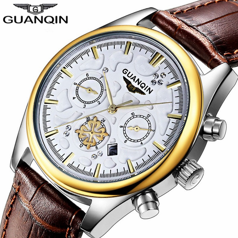 Top Brand Luxury GUANQIN Men Watch  Leather Quartz Mens Watches  Gold Blue Fashion Casual Wristwatches Relogio Masculino men watch luxury fashion faux leather mens blue ray glass quartz analog watches handsome relogio masculino feloj hombre m1
