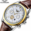 Top Brand Luxury GUANQIN Men Watch  Leather Quartz Mens Watches  Gold Blue Fashion Casual Wristwatches Relogio Masculino