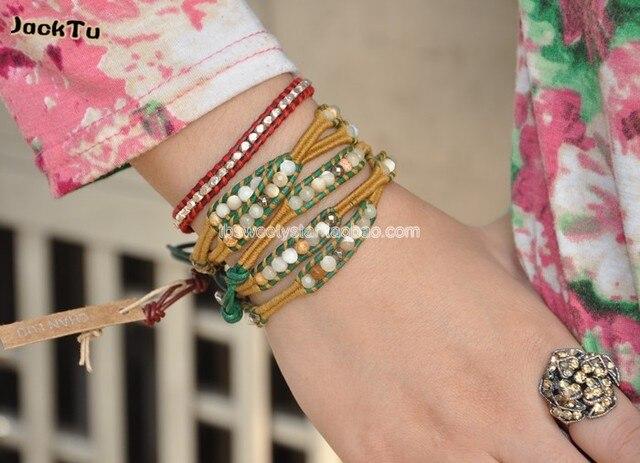 2017 mixed semi-precious stone on yellow cotton cord thread wrap leather bracelet
