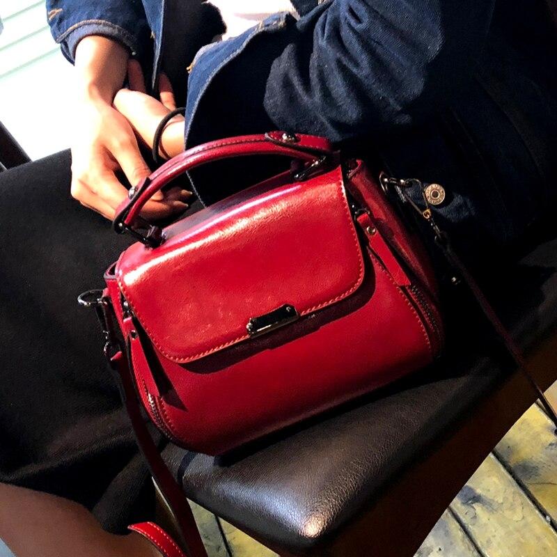 female bag Genuine Leather handbags head layer cowhide women handbags fashion Portable shoulder messenger bags 2019