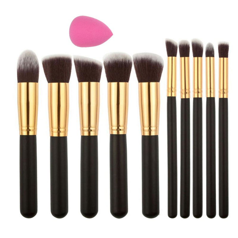 10Pcs New Makeup Cosmetic Powder Foundation Eyeshadow Smooth Hair Soft Eyebrow powder Blush Brushes Set Tool with Spoon Puff