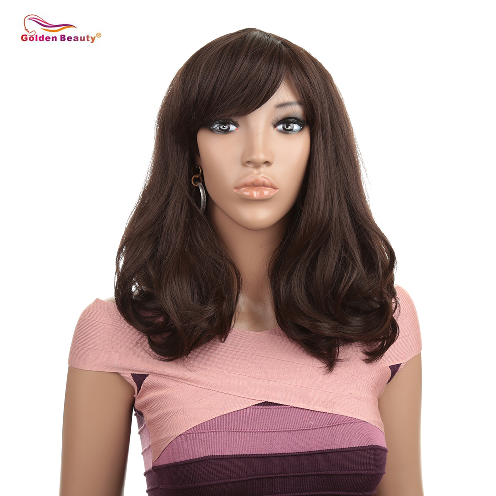 Dark Brown Straight Wig with Wave End 16inch Hair Replacements Wigs with Inclined Bangs Synthetic Fiber Hair Wig Golden Beauty