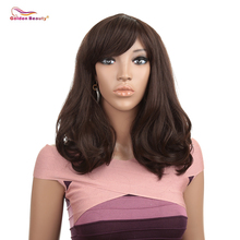 все цены на Dark Brown Straight Wig with Wave End 16inch Hair Replacements Wigs with Inclined Bangs Synthetic Fiber Hair Wig Golden Beauty онлайн