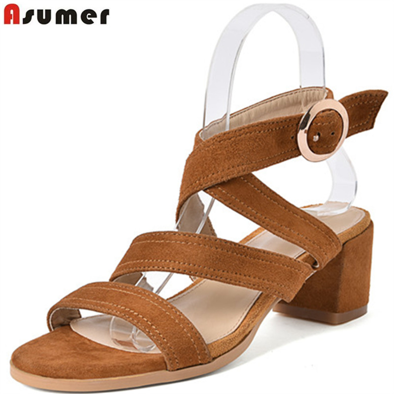 ASUMER black brown fashion summer shoes woman buckle elegant prom sandals women square heel suede leather shoes high heels asumer red black fashion summer new shoes woman elegant prom buckle ladies genuine leather high heels sandals