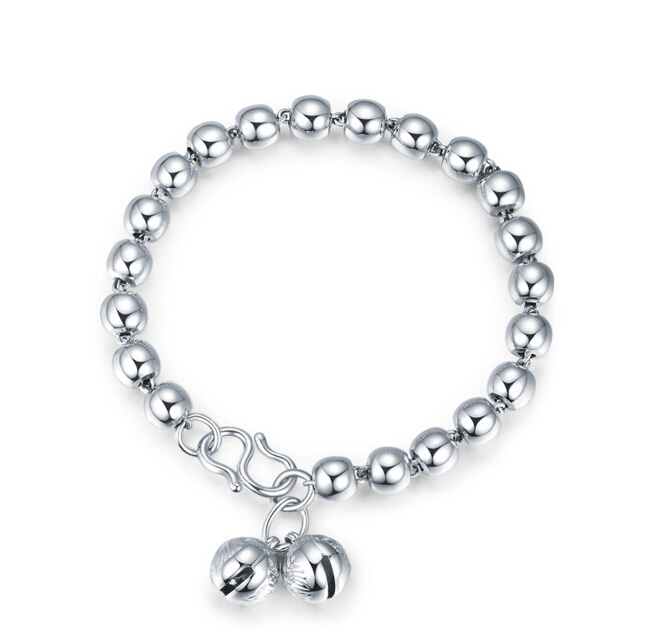 Pure 925 Sterling Silver Women's Smooth Beads Bracelet 9.2g