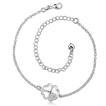 Free shipping wholesale price fashion Clover white 925 jewelry silver plated women foot anklet top quality