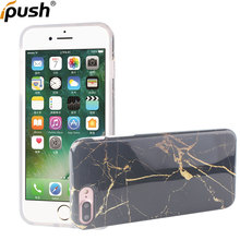 Para o iphone 7 mais Caso Do Telefone Móvel Acessórios Do Telefone IMD Impressão Cheia de Mármore borda de mármore impresso caso de telefone TPU Completo