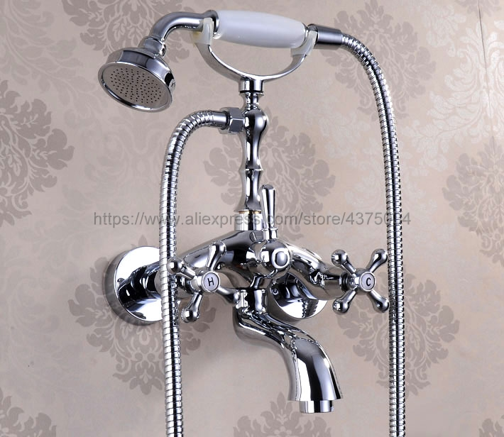 Chrome Polished Bathroom Bathtub Mixer Faucet Telephone Style With Handshower Bath & Shower Faucets Ntf933 antique red copper bathtub faucets telephone style tub mixer taps dual handle bathroom bath shower faucet with handshower tna338