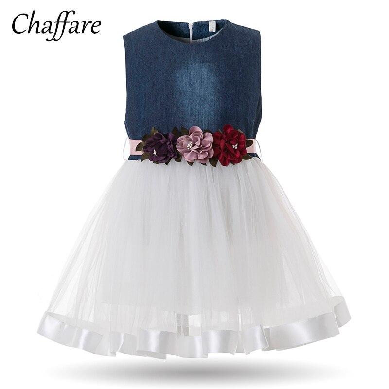 Chaffare Infant Girls Dress Denim Flower Baby Party Dresses for Birthday Formal Tulle Design Ball Gown Toddler Girl Fancy Frocks