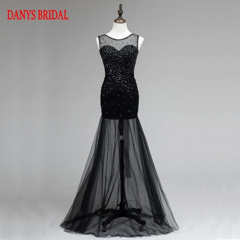 Sexy Black Mermaid Prom Dresses Long For Teens 8th Grade Beaded Prom