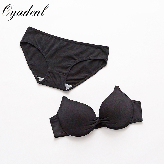 New Sexy young girl Cotton Push up bra set Solid color underwear bra brief sets brassiere Intimates