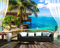 Beibehang 3D Stereoscopic Fashion Wall Paper Beach Terrace Sea View Blue Sky And White Clouds Background
